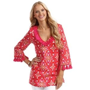 NEW Mud Pie Kendall Tunic Pink/Orange/Multi- S